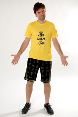 "Tričko ""KEEP CALM and JUMP"" žlté"